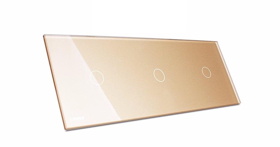 Трехместная стеклянная панель для сенсорных выключателей Livolo золотая
