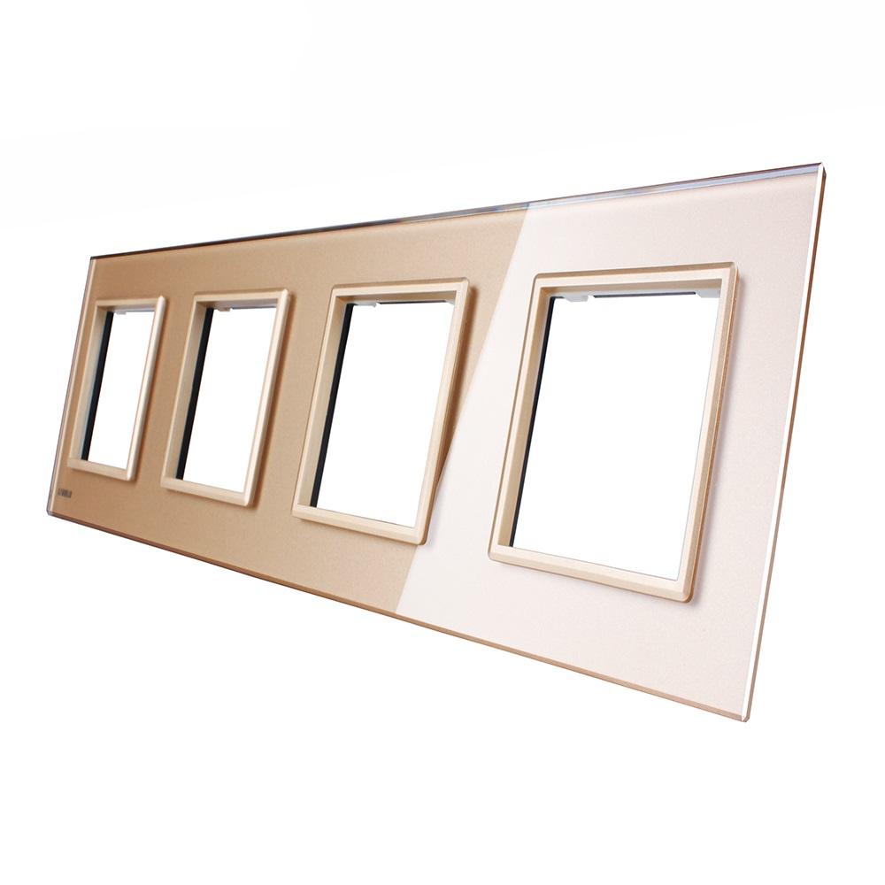 Стеклянная рамка Livolo VL-C7-SR золотая
