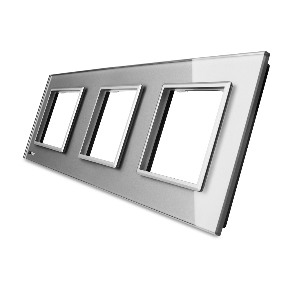 Стеклянная рамка Livolo VL-C7-SR серая